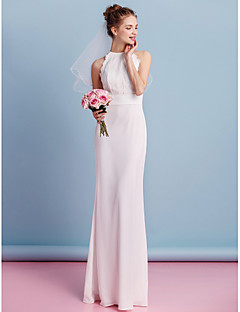Lanting Bride® Sheath / Column Wedding Dress Floor-length Jewel Chiffon / Lace with Lace / Sash / Ribbon