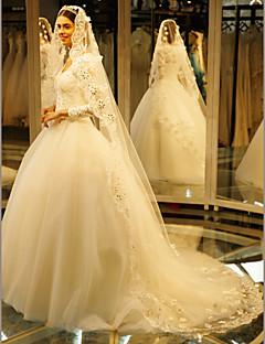 Véus de Noiva Uma Camada Véu Catedral Borda com aplicação de Renda Tule / Renda Marfim