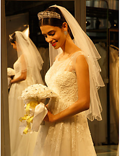 Wedding Veil One-tier Fingertip Veils Beaded Edge