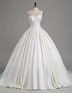 Lanting Bride A-line Wedding Dress-Cathedral Train Strapless Satin