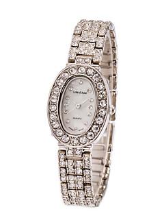 Dame Moteklokke Vannavvisende Imitasjon Diamant Quartz Rustfritt stål Band Elegante klokker Sølv