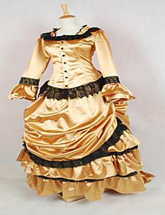 /שמלותחתיכה אחת לוליטה גותי לוליטה קלאסית ומסורתית Steampunk® Cosplay שמלות לוליטה אחיד שרוול ארוך ארוך שמלה ל כותנה תחרה