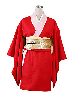 Inspired by Gintama Kagura Anime Cosplay Costumes Cosplay Suits / Kimono Solid Red Long Sleeve Yukata / Gloves / Underwear / Belt / Bow