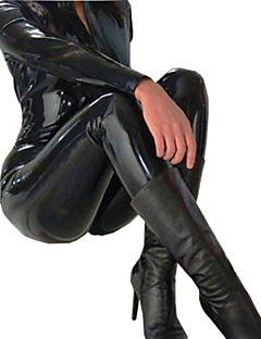 Women's 2Way Zipper PVC Leather Shiny  Catsuit Playsuit