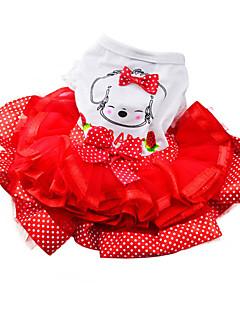 Dog Dress Red / Green / Yellow Dog Clothes Summer / Spring/Fall Bowknot / Polka Dots Fashion