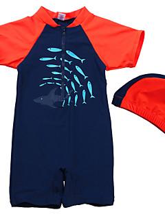 Kid Boy's Monster Cartoon/Shark Printed Summer Swimming 2pcs/set Short Sleeve Blue Bathing Suit/UV Protection Swimwear