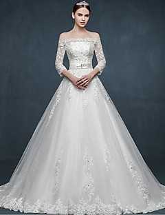 Ball Gown Wedding Dress Floral Lace Sweep / Brush Train Off-the-shoulder Tulle with Appliques
