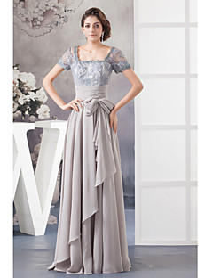 A-line Mother of the Bride Dress - Floor-length Chiffon