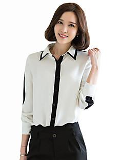 Vrouwen Vintage / Eenvoudig Lente Overhemd,Casual/Dagelijks Kleurenblok Overhemdkraag Lange mouw Wit Polyester Medium