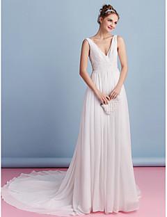 A-line Wedding Dress Court Train V-neck Chiffon with Beading