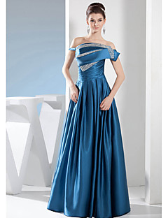 Formal Evening Dress A-line Bateau Floor-length Stretch Satin with Beading / Draping
