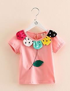 Mädchen T-Shirt-Lässig/Alltäglich Patchwork Baumwolle Sommer Grün / Rosa / Rot / Weiß / Gelb