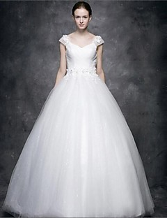 Ball Gown Wedding Dress Floor-length V-neck Tulle with Appliques