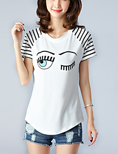 Women's Print Stripe White T-shirt,Casual / Simple / Cute Round Neck Short Sleeve Asymmetrical Cotton