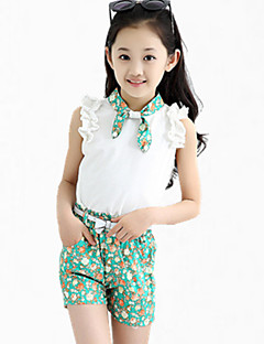 Girl's Blue / Green Tee / Shorts,Floral Cotton Summer