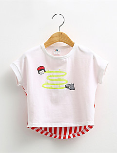 Pigens T-shirt Bomuld Blomstret Casual/hverdag Sommer Grøn / Rød