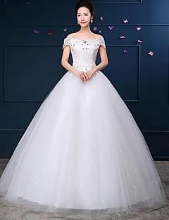 De Baile Vestido de Noiva Longo Ombro a Ombro Renda / Tule com Renda / Paetês