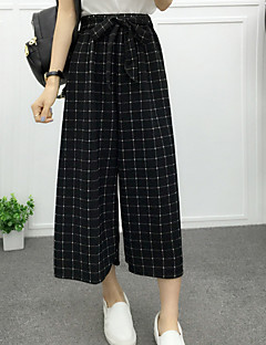 Women's Striped White / Black Loose / Straight / Wide Leg Pants,Casual / Day / Beach