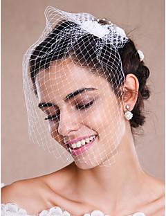 Véus de Noiva Uma Camada Véu Ruge Véu para Cabelo Curto Peça para Cabeça com Véu Borda Crua Tule Branco