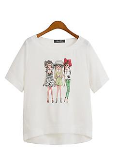 De las mujeres Tallas Grandes / Chic de Calle Casual/Diario Verano Camiseta,Escote Redondo Estampado Manga Corta Poliéster Blanco / Beige