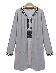Camicia Da donna Casual Taglie forti Estate,Con stampe Rotonda Cotone Nero / Grigio Manica lunga Sottile