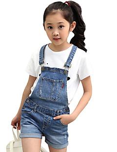 Girl's Cotton Summer Korean Big Pocket Denim Suspender Short Pants Two-piece Clothing Set