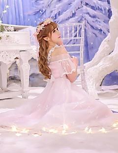 Wa Lolita Long Sleeve Long Length Pink Spandex / Polyester Lolita Dress