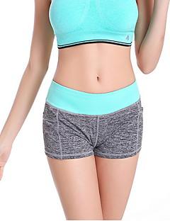 calças de yoga Shorts Respirável Caído Elasticidade Alta Wear Sports Verde / Preto / Rosa Escuro / Rosa Claro / Azul Claro Mulheres