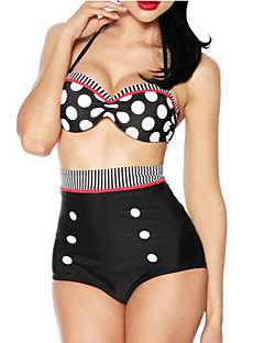 The New Retro High Waist Swimsuit Cover Belly Hanging Neck Double Bijinibo Point Swimsuit