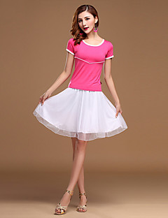 Latin Dance Dress Women's Performance Tulle / Milk Fiber Ruched 2 Pieces Fuchsia / Green / Red-Tops White-Skirts