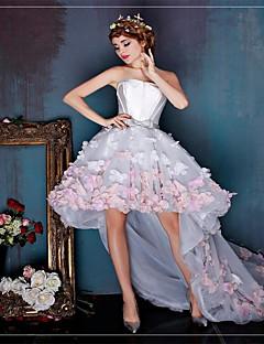 칵테일 파티 드레스 볼 드레스 끈없는 스타일 비대칭 튤 와 플라워