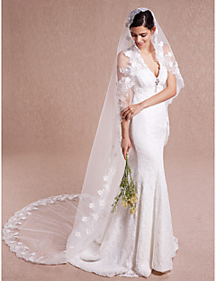 Wedding Veil One-tier Cathedral Veils Lace Applique Edge Tulle / Lace Ivory Ivory