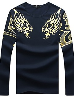 Men's Fashion Slim Dragon Totem Long Sleeved T-Shirt,Cotton / Spandex Casual / Plus Sizes Print
