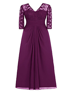 A-line plus size mother of the bride dress-Burgundy / Lavender / Grape / Pearl Pink / Royal Blue/ Champagne / Black
