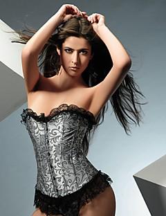 YUIYE® Elegant Women Sexy Lingerie Waist Training Corset Bustier Tops Shapewear Silver Floral Overbust Corset Plus Size