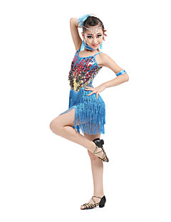 Danse latine Robes Enfant Spectacle Elasthanne Polyester 6 Pièces Sans manche Taille haute Robe Coiffures Tour de Cou Bracelets