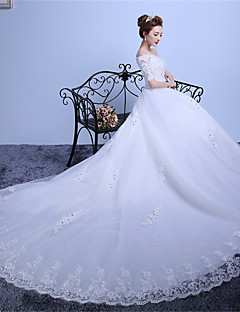 Ball Gown Wedding Dress Lacy Look Cathedral Train Off-the-shoulder Lace Satin Tulle with Lace