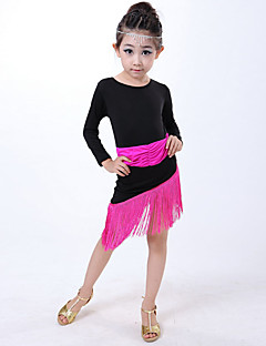 Latin Dance Dresses Children's Performance Milk Fiber Tassel(s) 1 Piece Blue / Fuchsia / Red