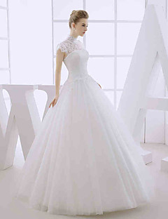 Ball Gown Wedding Dress Floor-length High Neck Lace / Tulle with Lace / Appliques / Beading