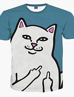 男性用 プリント カジュアル / フォーマル / スポーツ / プラスサイズ Tシャツ,半袖 ポリエステル,ブルー