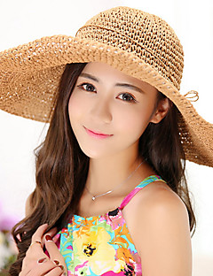 Millinery Pure Color Bow Straw Folding Beach Vacation Braid Hat