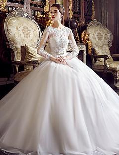 Linea-A Abito da sposa Lungo Con decorazione gioiello Tulle con Con applicazioni / Perline