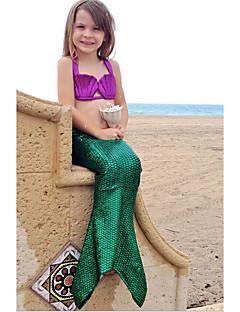 Girl's  Summer The Little Mermaid Bowknot   Strapless Three-Piece Swimwear