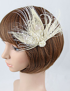 Women's Feather / Tulle Headpiece-Wedding / Special Occasion Fascinators Clip 1 Piece