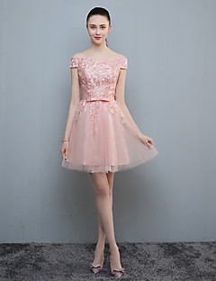 Cocktail Party Dress A-line Off-the-shoulder Knee-length Lace / Tulle with Lace / Sash / Ribbon
