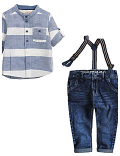 Jungen Kleidungs Set - Baumwolle Gestreift Sommer / Frühling / Herbst