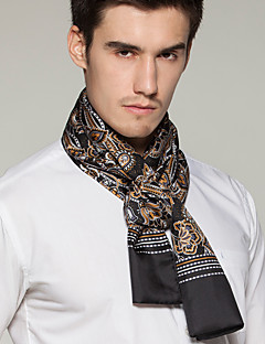 Men Black White-collar Occupation Printing Work  Silk Scarf