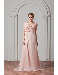 포멀 이브닝 드레스 - 플로럴 A-라인 V-넥 스윕 / 브러쉬 트레인 쉬폰 와 플라워 주름