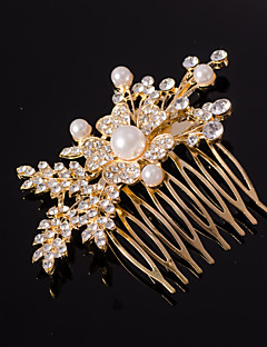 Silver/Gold Leaf Shape Crystal Pearl Hair Combs for Wedding Party Lady