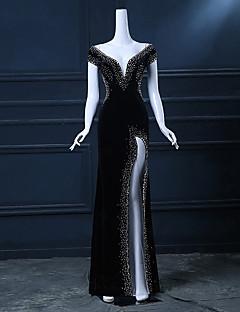 Formal Evening Dress Trumpet/Mermaid V-neck Floor-length Satin